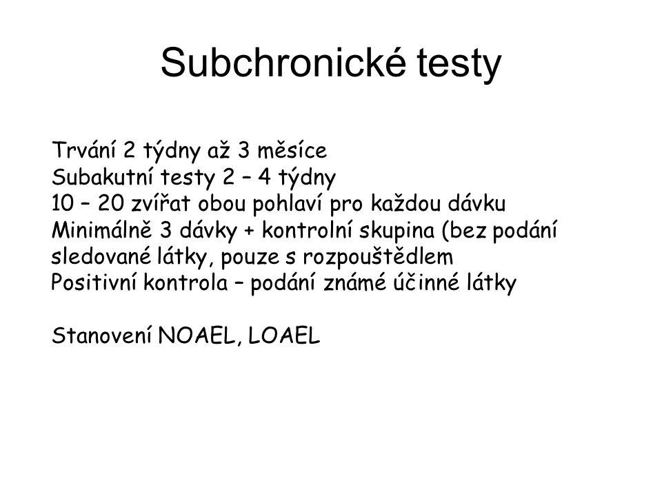 Subchronické testy Trvání 2 týdny až 3 měsíce Subakutní testy 2 – 4 týdny 10 – 20 zvířat obou pohlaví pro každou dávku Minimálně 3 dávky + kontrolní s
