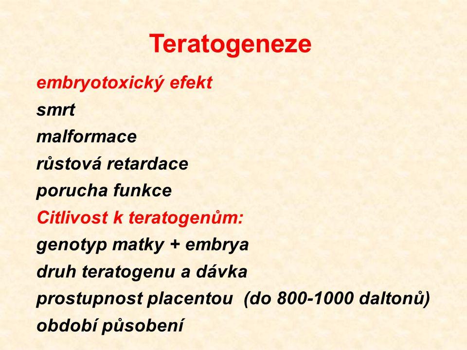 Teratogeneze embryotoxický efekt smrt malformace růstová retardace porucha funkce Citlivost k teratogenům: genotyp matky + embrya druh teratogenu a dá