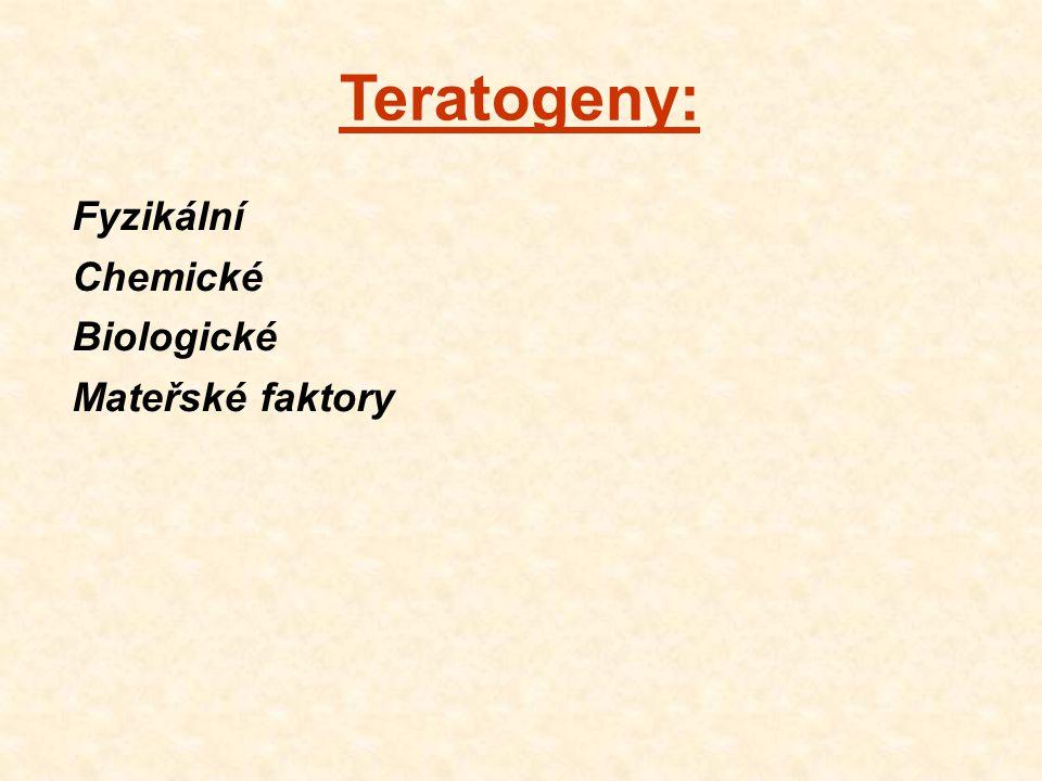 Teratogeny: Fyzikální Chemické Biologické Mateřské faktory