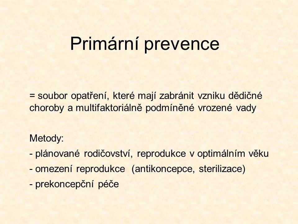 Primární prevence = soubor opatření, které mají zabránit vzniku dědičné choroby a multifaktoriálně podmíněné vrozené vady Metody: - plánované rodičovs