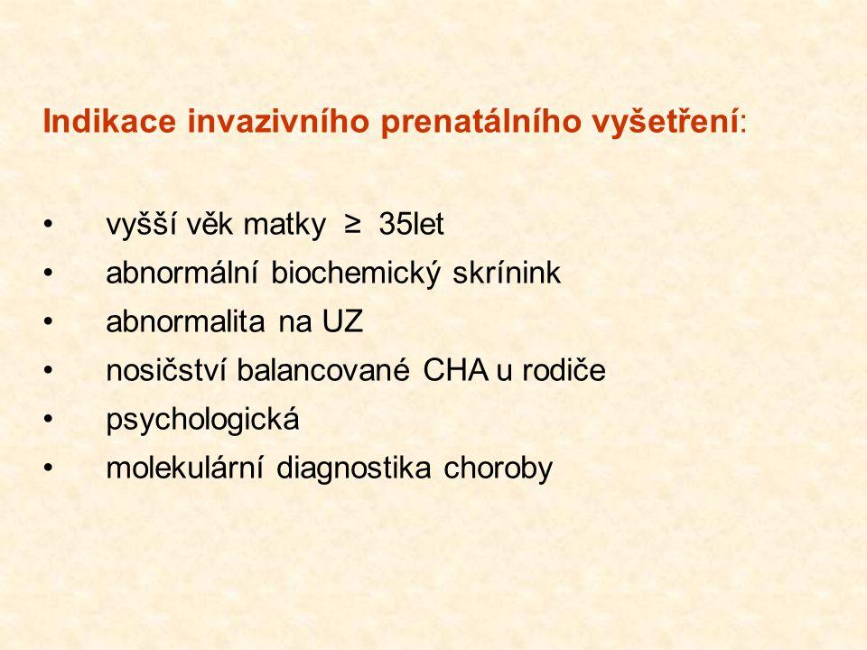 Indikace invazivního prenatálního vyšetření: vyšší věk matky ≥ 35let abnormální biochemický skrínink abnormalita na UZ nosičství balancované CHA u rod
