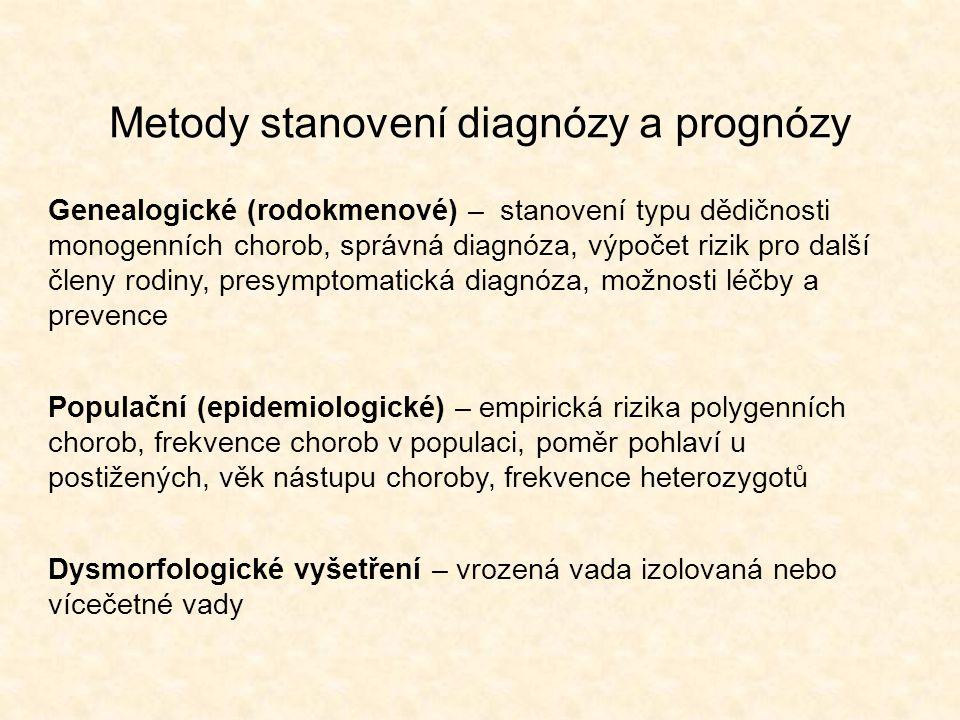 Metody stanovení diagnózy a prognózy Genealogické (rodokmenové) – stanovení typu dědičnosti monogenních chorob, správná diagnóza, výpočet rizik pro da