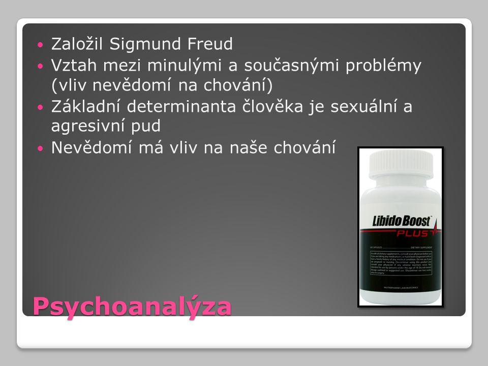 Psychoanalýza Založil Sigmund Freud Vztah mezi minulými a současnými problémy (vliv nevědomí na chování) Základní determinanta člověka je sexuální a a