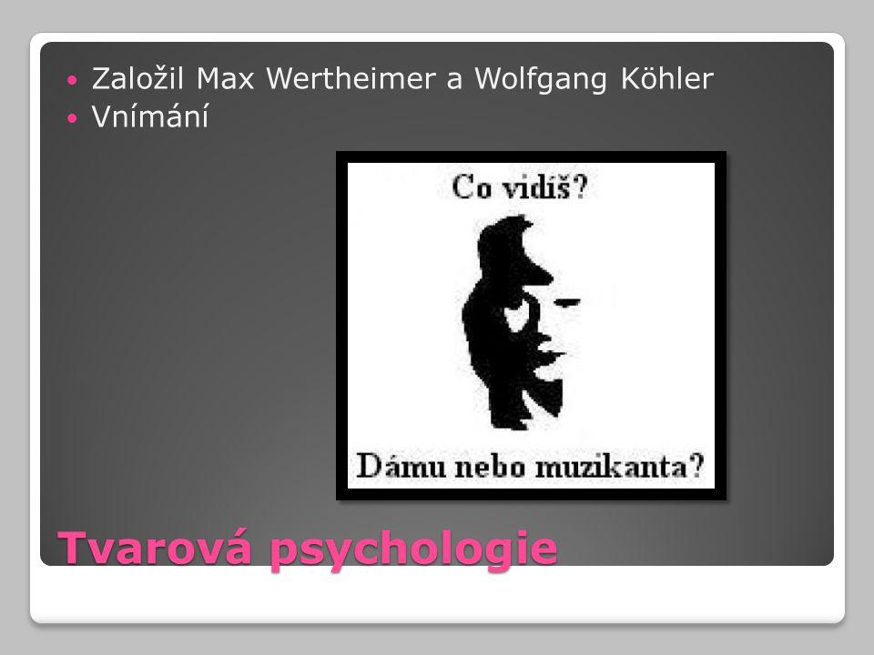Tvarová psychologie Založil Max Wertheimer a Wolfgang Köhler Vnímání