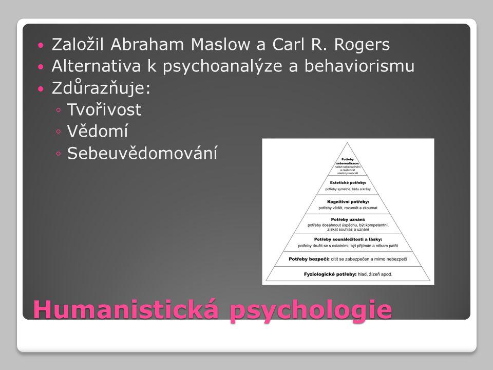Humanistická psychologie Založil Abraham Maslow a Carl R. Rogers Alternativa k psychoanalýze a behaviorismu Zdůrazňuje: ◦Tvořivost ◦Vědomí ◦Sebeuvědom