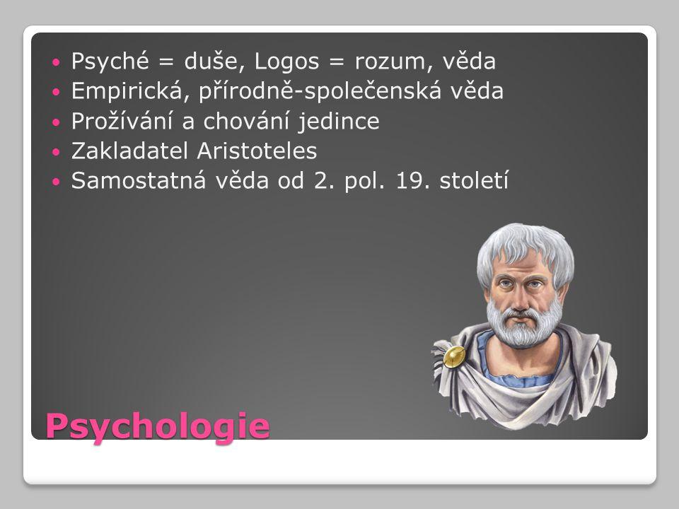 Psychologie Psyché = duše, Logos = rozum, věda Empirická, přírodně-společenská věda Prožívání a chování jedince Zakladatel Aristoteles Samostatná věda