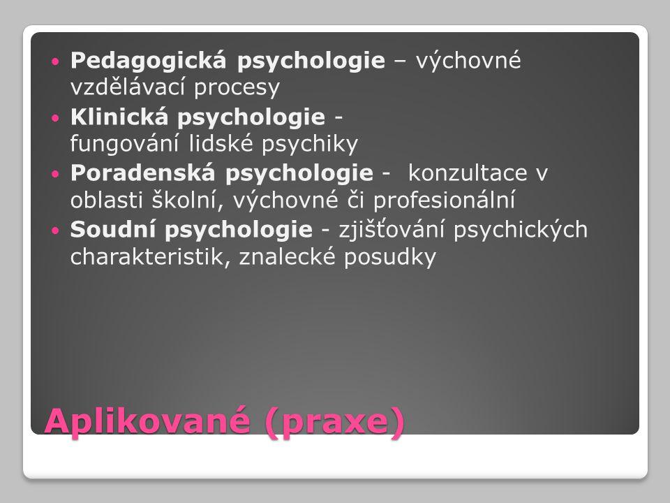 Aplikované (praxe) Pedagogická psychologie – výchovné vzdělávací procesy Klinická psychologie - fungování lidské psychiky Poradenská psychologie - kon