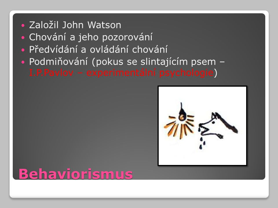 Behaviorismus Založil John Watson Chování a jeho pozorování Předvídání a ovládání chování Podmiňování (pokus se slintajícím psem – I.P.Pavlov – experi