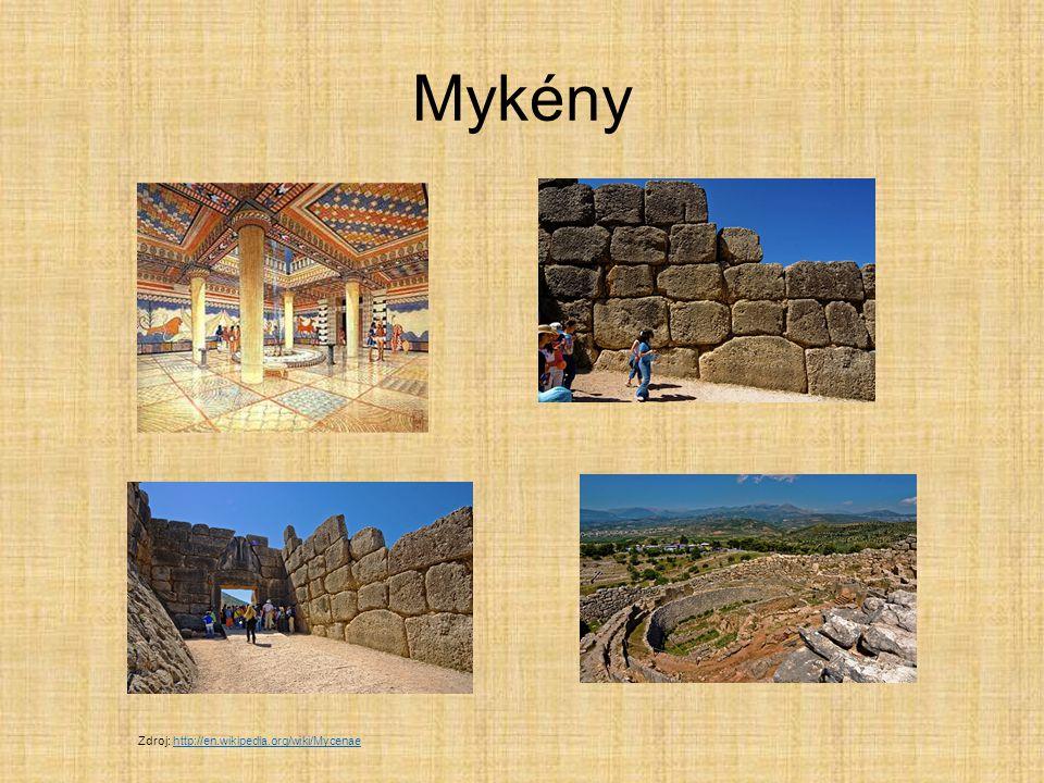 Mykény Lví brána Nejznámější část paláce Zdroj: http://en.wikipedia.org/wiki/Mycenaehttp://en.wikipedia.org/wiki/Mycenae