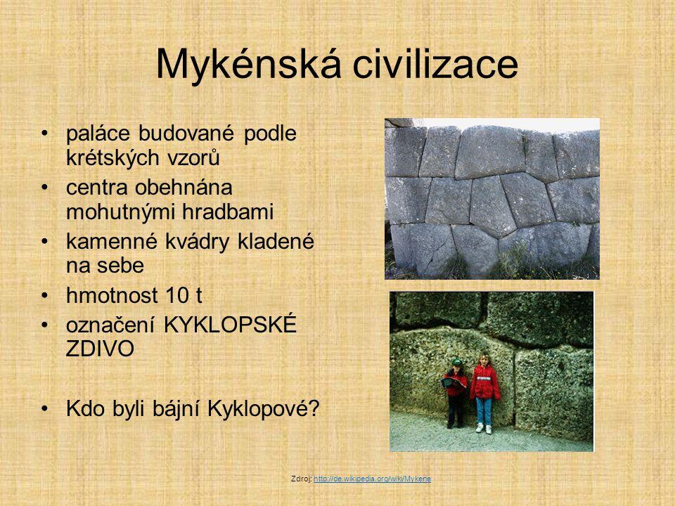 Kyklopové bájní obři s jedních okem uprostřed čela vystupují v řeckých bájích Odyssea – hrdina Odysseus jako zajatec Kyklopů oslepil Polyféma lidé věřili, že mykénské paláce postavili obři Kyklopové Proč.