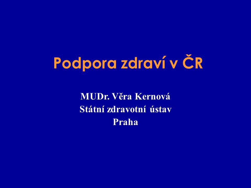 Podpora zdraví v ČR MUDr. Věra Kernová Státní zdravotní ústav Praha
