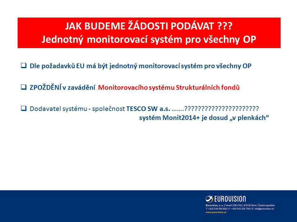 JAK BUDEME ŽÁDOSTI PODÁVAT ??? Jednotný monitorovací systém pro všechny OP  Dle požadavků EU má být jednotný monitorovací systém pro všechny OP  ZPO