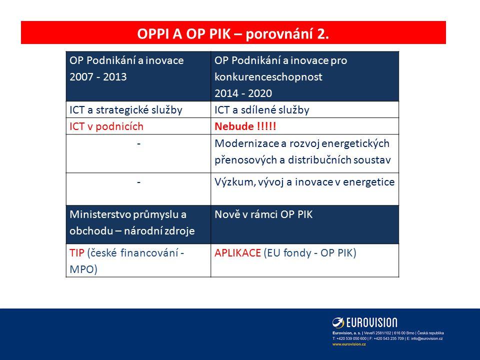 OPPI A OP PIK – porovnání 2. OP Podnikání a inovace 2007 - 2013 OP Podnikání a inovace pro konkurenceschopnost 2014 - 2020 ICT a strategické službyICT