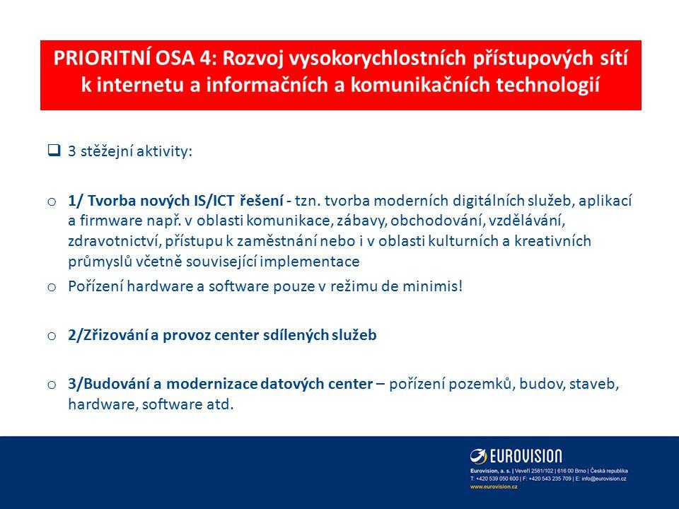 PRIORITNÍ OSA 4: Rozvoj vysokorychlostních přístupových sítí k internetu a informačních a komunikačních technologií  3 stěžejní aktivity: o 1/ Tvorba