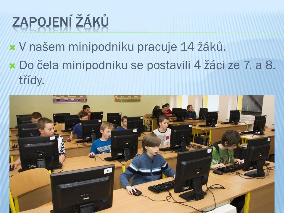  V našem minipodniku pracuje 14 žáků.  Do čela minipodniku se postavili 4 žáci ze 7. a 8. třídy.