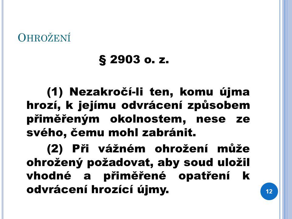 O HROŽENÍ § 2903 o. z. (1) Nezakročí-li ten, komu újma hrozí, k jejímu odvrácení způsobem přiměřeným okolnostem, nese ze svého, čemu mohl zabránit. (2