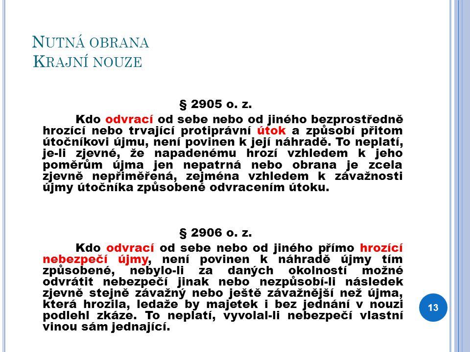 N UTNÁ OBRANA K RAJNÍ NOUZE § 2905 o. z.