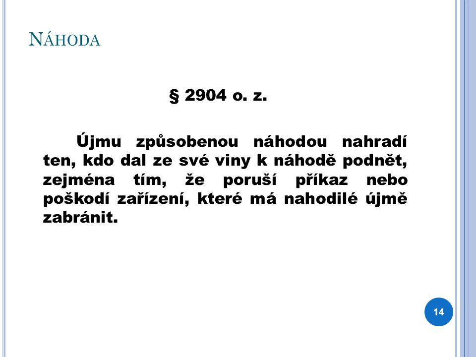 N ÁHODA § 2904 o. z. Újmu způsobenou náhodou nahradí ten, kdo dal ze své viny k náhodě podnět, zejména tím, že poruší příkaz nebo poškodí zařízení, kt