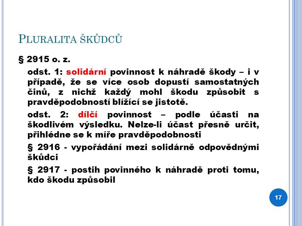 P LURALITA ŠKŮDCŮ § 2915 o. z. odst. 1: solidární povinnost k náhradě škody – i v případě, že se více osob dopustí samostatných činů, z nichž každý mo