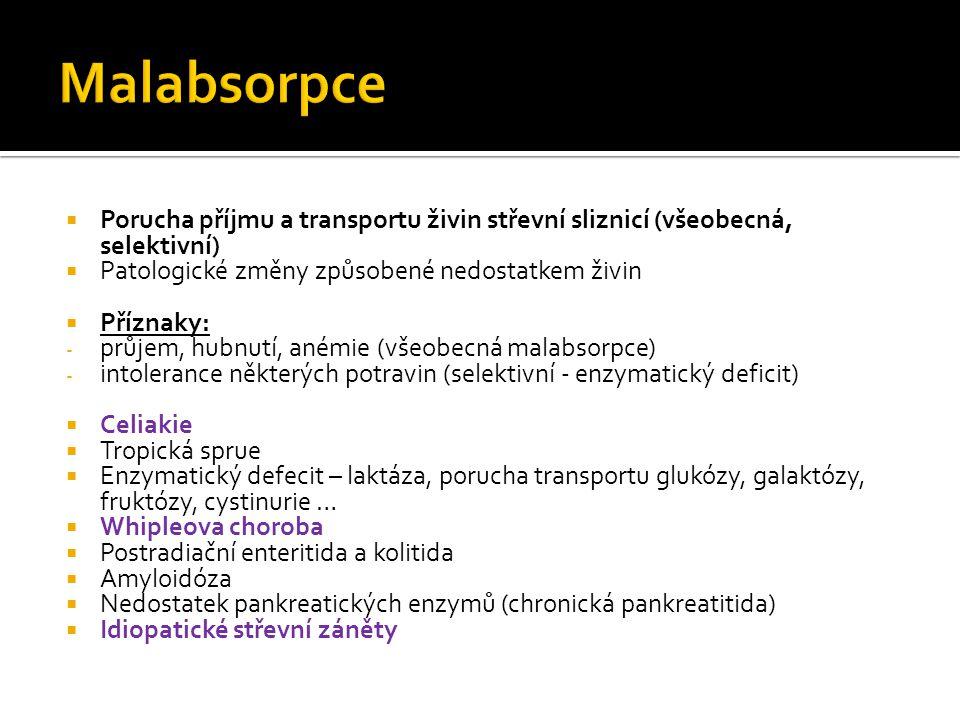  Porucha příjmu a transportu živin střevní sliznicí (všeobecná, selektivní)  Patologické změny způsobené nedostatkem živin  Příznaky: - průjem, hubnutí, anémie (všeobecná malabsorpce) - intolerance některých potravin (selektivní - enzymatický deficit)  Celiakie  Tropická sprue  Enzymatický defecit – laktáza, porucha transportu glukózy, galaktózy, fruktózy, cystinurie …  Whipleova choroba  Postradiační enteritida a kolitida  Amyloidóza  Nedostatek pankreatických enzymů (chronická pankreatitida)  Idiopatické střevní záněty