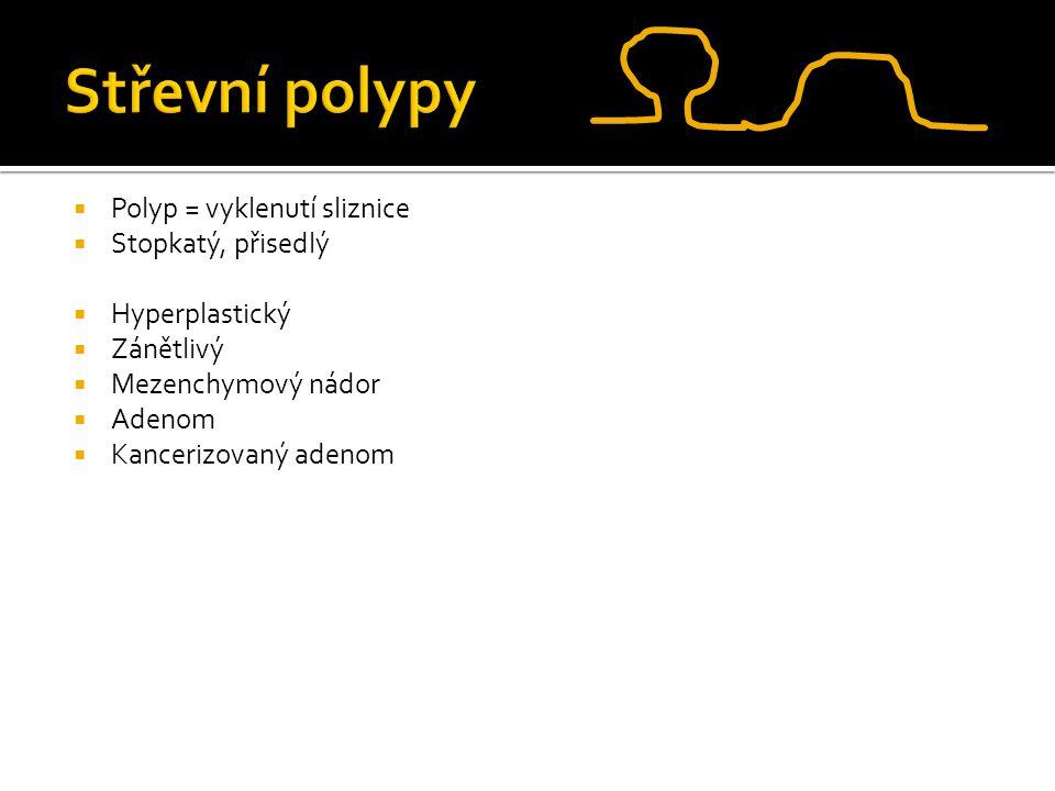  Polyp = vyklenutí sliznice  Stopkatý, přisedlý  Hyperplastický  Zánětlivý  Mezenchymový nádor  Adenom  Kancerizovaný adenom