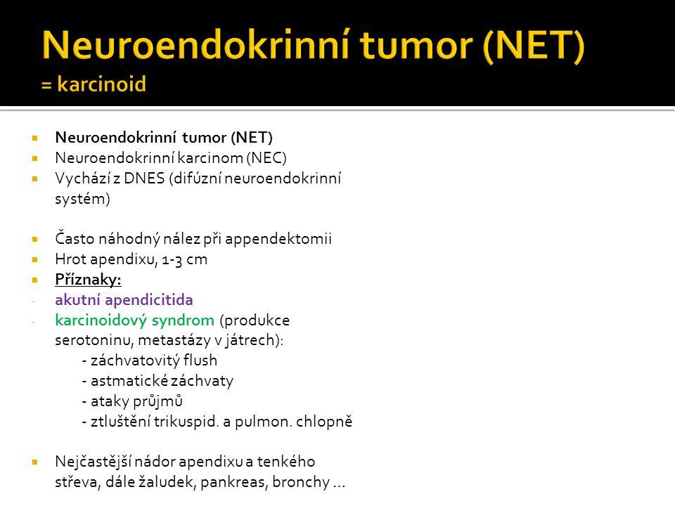  Neuroendokrinní tumor (NET)  Neuroendokrinní karcinom (NEC)  Vychází z DNES (difúzní neuroendokrinní systém)  Často náhodný nález při appendektomii  Hrot apendixu, 1-3 cm  Příznaky: - akutní apendicitida - karcinoidový syndrom (produkce serotoninu, metastázy v játrech): - záchvatovitý flush - astmatické záchvaty - ataky průjmů - ztluštění trikuspid.