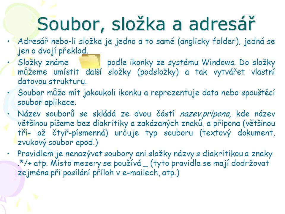 Soubor, složka a adresář Adresář nebo-li složka je jedno a to samé (anglicky folder), jedná se jen o dvojí překlad.