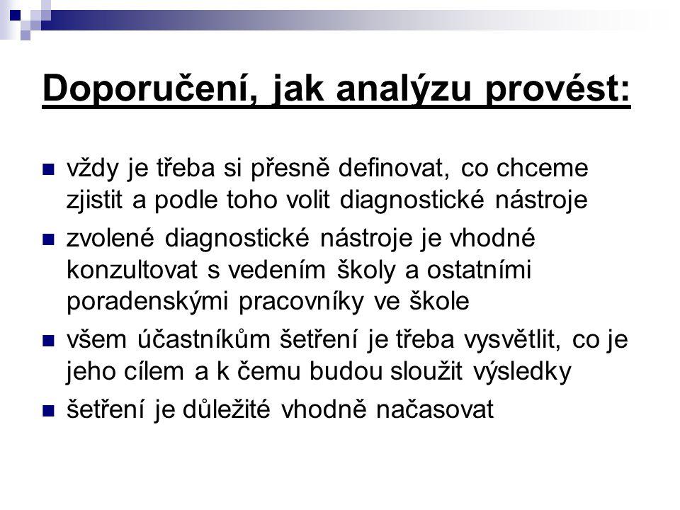 Doporučení, jak analýzu provést: vždy je třeba si přesně definovat, co chceme zjistit a podle toho volit diagnostické nástroje zvolené diagnostické ná