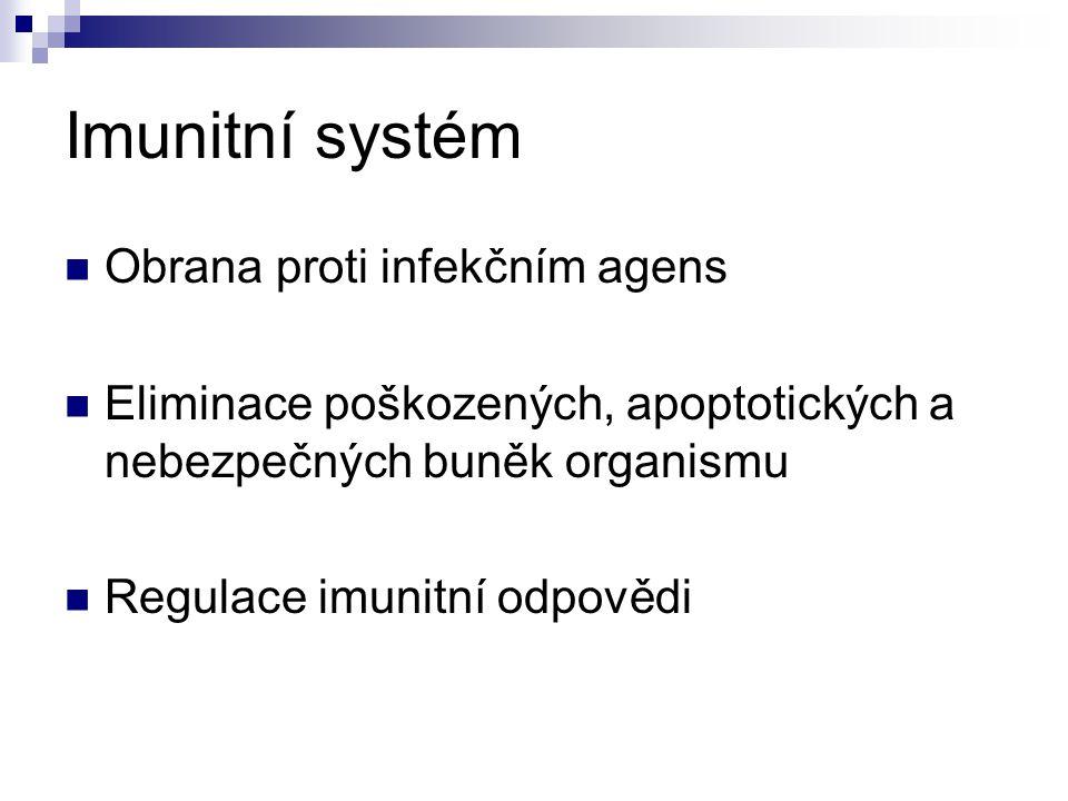 Imunitní systém Obrana proti infekčním agens Eliminace poškozených, apoptotických a nebezpečných buněk organismu Regulace imunitní odpovědi