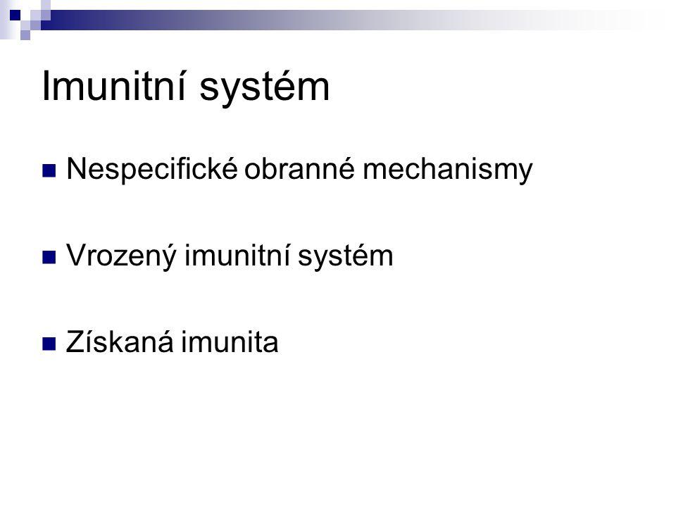 Imunitní systém Nespecifické obranné mechanismy Vrozený imunitní systém Získaná imunita