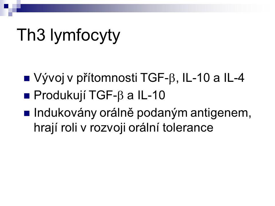 Th3 lymfocyty Vývoj v přítomnosti TGF- , IL-10 a IL-4 Produkují TGF-  a IL-10 Indukovány orálně podaným antigenem, hrají roli v rozvoji orální toler