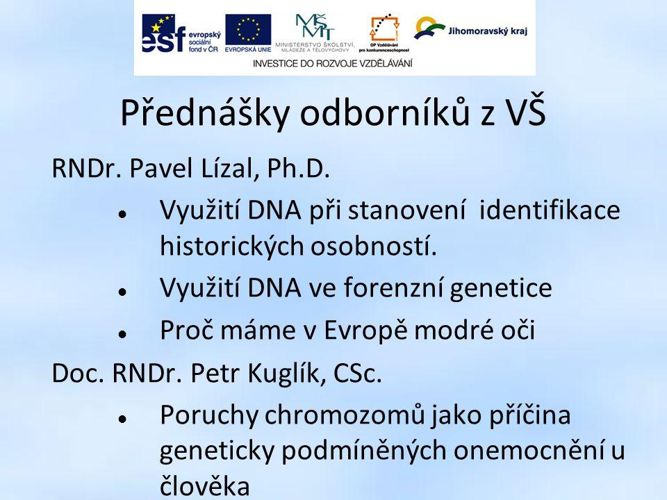Přednášky odborníků z VŠ RNDr. Pavel Lízal, Ph.D. Využití DNA při stanovení identifikace historických osobností. Využití DNA ve forenzní genetice Proč
