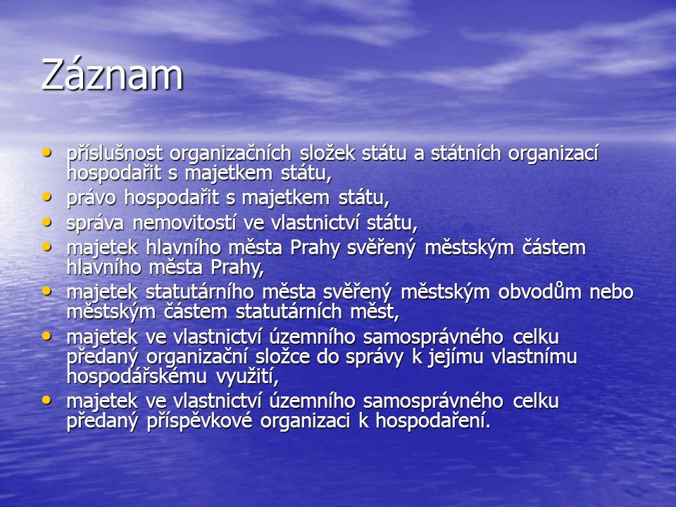 Záznam příslušnost organizačních složek státu a státních organizací hospodařit s majetkem státu, příslušnost organizačních složek státu a státních org