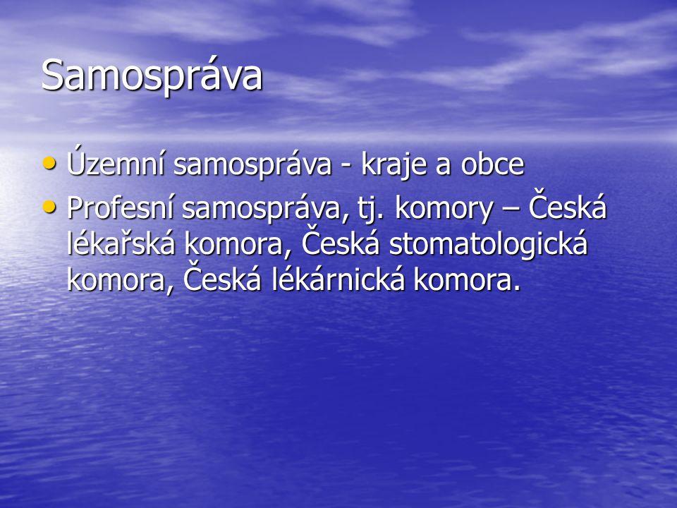 Samospráva Územní samospráva - kraje a obce Územní samospráva - kraje a obce Profesní samospráva, tj.