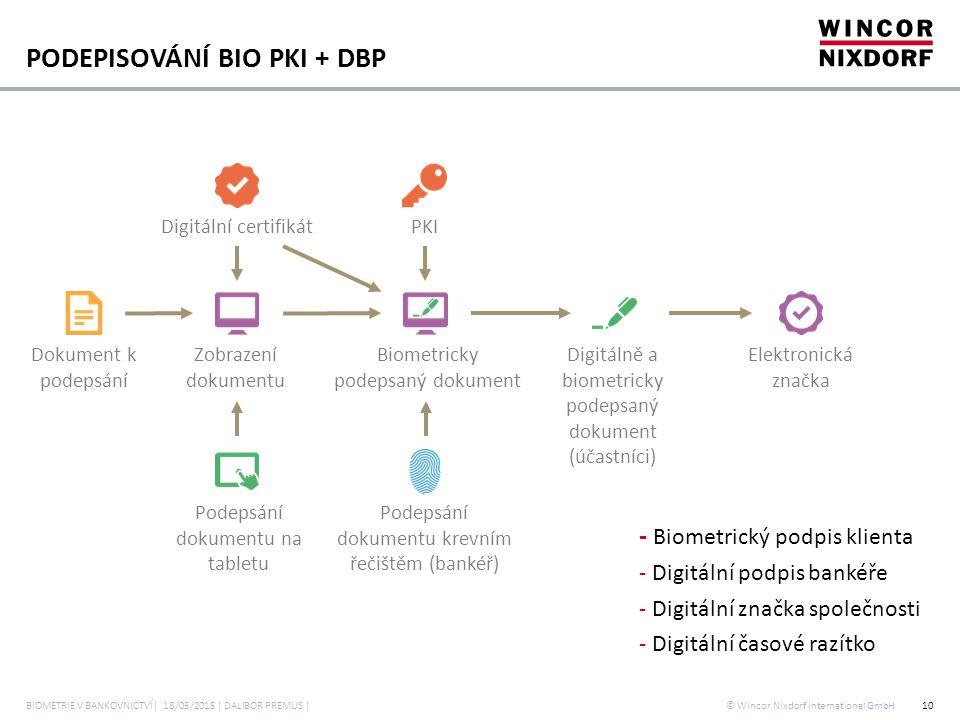© Wincor Nixdorf International GmbH PODEPISOVÁNÍ BIO PKI + DBP - Biometrický podpis klienta - Digitální podpis bankéře - Digitální značka společnosti