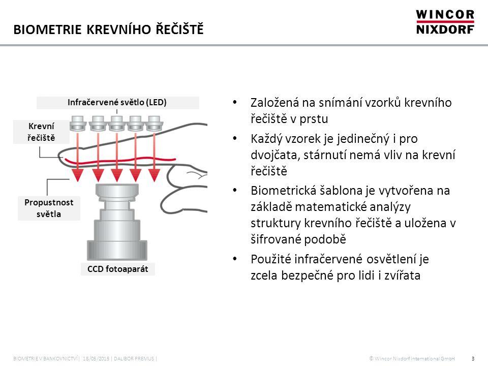 © Wincor Nixdorf International GmbH POUŽITÍ BIOMETRIE KREVNÍHO ŘEČIŠTĚ BIOMETRIE V BANKOVNICTVÍ| 18/05/2015 | DALIBOR PREMUS |4 Biometrická čtečka krevního řečiště Srovnání s referenční šablonou Čipová karta Server Čtečka Uložení šablony krevního řečiště Čipová karta Databáze
