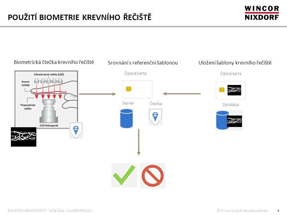 © Wincor Nixdorf International GmbH POUŽITÍ BIOMETRIE KREVNÍHO ŘEČIŠTĚ BIOMETRIE V BANKOVNICTVÍ| 18/05/2015 | DALIBOR PREMUS |4 Biometrická čtečka kre