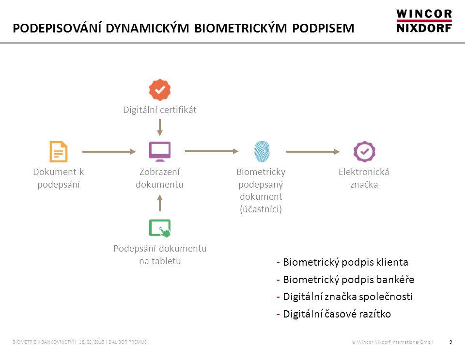 © Wincor Nixdorf International GmbH PODEPISOVÁNÍ DYNAMICKÝM BIOMETRICKÝM PODPISEM - Biometrický podpis klienta - Biometrický podpis bankéře - Digitáln