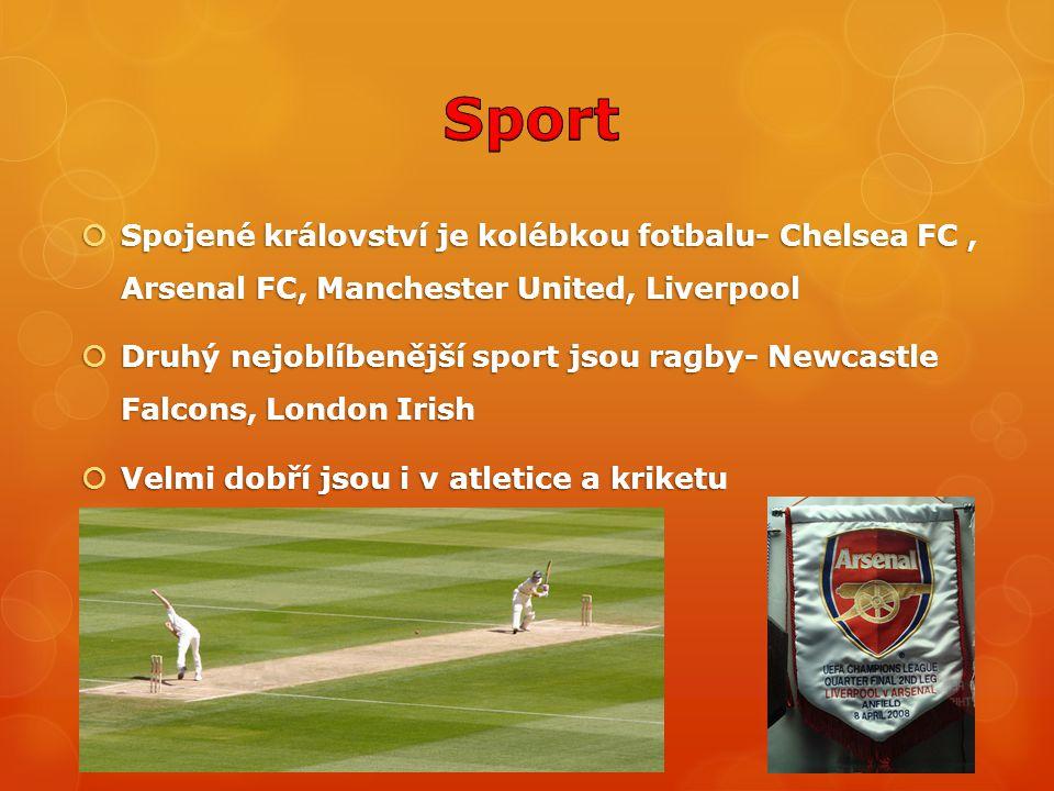  Spojené království je kolébkou fotbalu- Chelsea FC, Arsenal FC, Manchester United, Liverpool  Druhý nejoblíbenější sport jsou ragby- Newcastle Falc