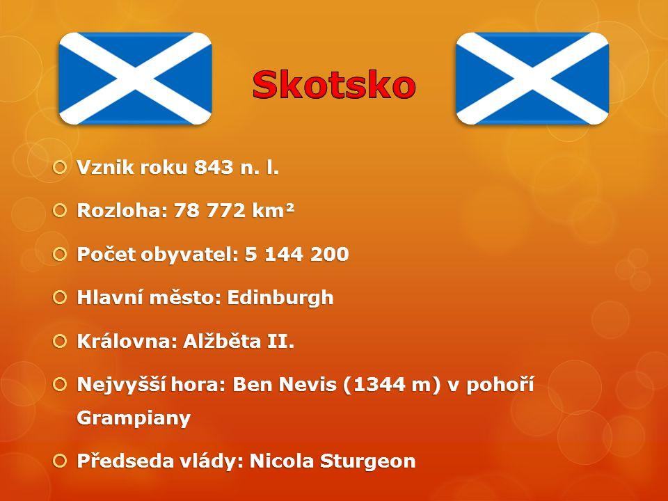  Vznik roku 843 n. l.  Rozloha: 78 772 km²  Počet obyvatel: 5 144 200  Hlavní město: Edinburgh  Královna: Alžběta II.  Nejvyšší hora: Ben Nevis