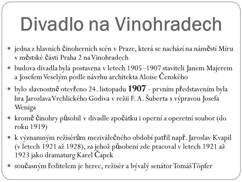 Divadlo na Vinohradech jedna z hlavních č inoherních scén v Praze, která se nachází na nám ě stí Míru v m ě stské č ásti Praha 2 na Vinohradech budova