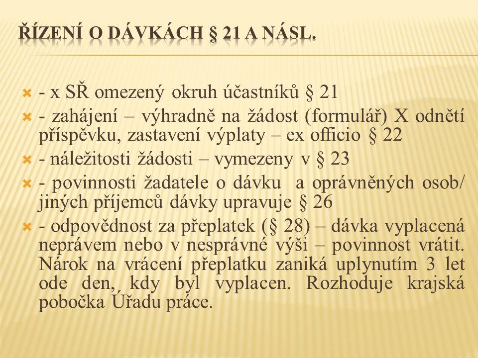  - x SŘ omezený okruh účastníků § 21  - zahájení – výhradně na žádost (formulář) X odnětí příspěvku, zastavení výplaty – ex officio § 22  - náležitosti žádosti – vymezeny v § 23  - povinnosti žadatele o dávku a oprávněných osob/ jiných příjemců dávky upravuje § 26  - odpovědnost za přeplatek (§ 28) – dávka vyplacená neprávem nebo v nesprávné výši – povinnost vrátit.
