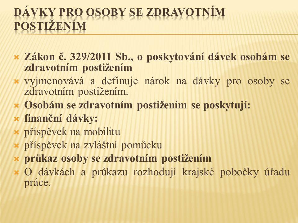  Zákon č. 329/2011 Sb., o poskytování dávek osobám se zdravotním postižením  vyjmenovává a definuje nárok na dávky pro osoby se zdravotním postižení