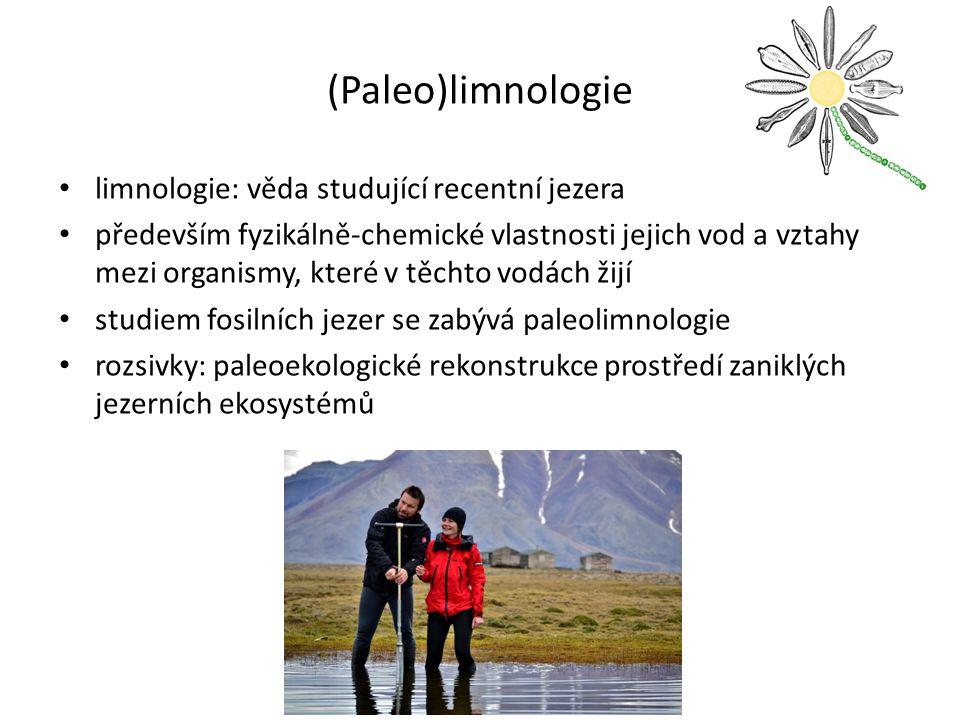 (Paleo)limnologie limnologie: věda studující recentní jezera především fyzikálně-chemické vlastnosti jejich vod a vztahy mezi organismy, které v těchto vodách žijí studiem fosilních jezer se zabývá paleolimnologie rozsivky: paleoekologické rekonstrukce prostředí zaniklých jezerních ekosystémů
