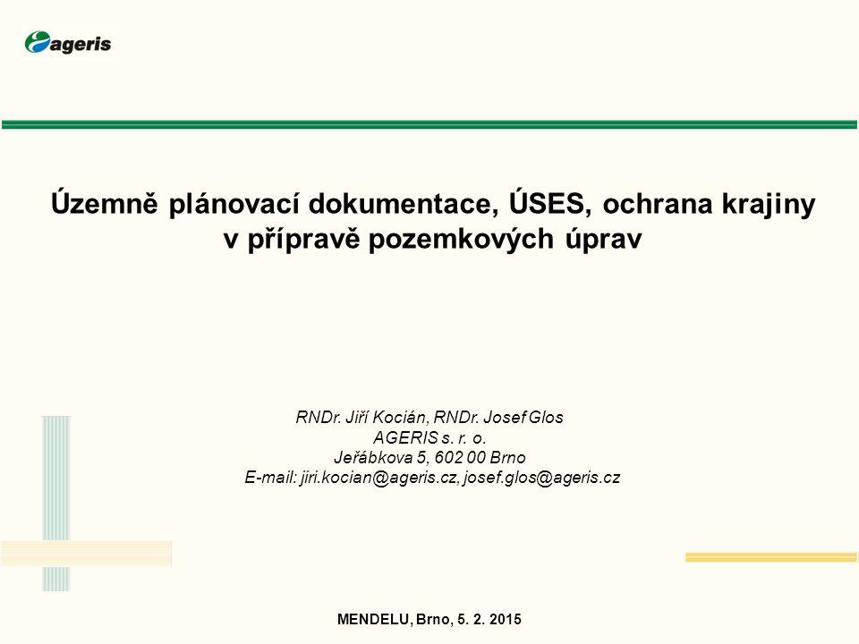 Územně plánovací dokumentace Územně plánovací dokumentace (ÚPD): zásadní podklad pro návrhy pozemkových úprav (zejm.
