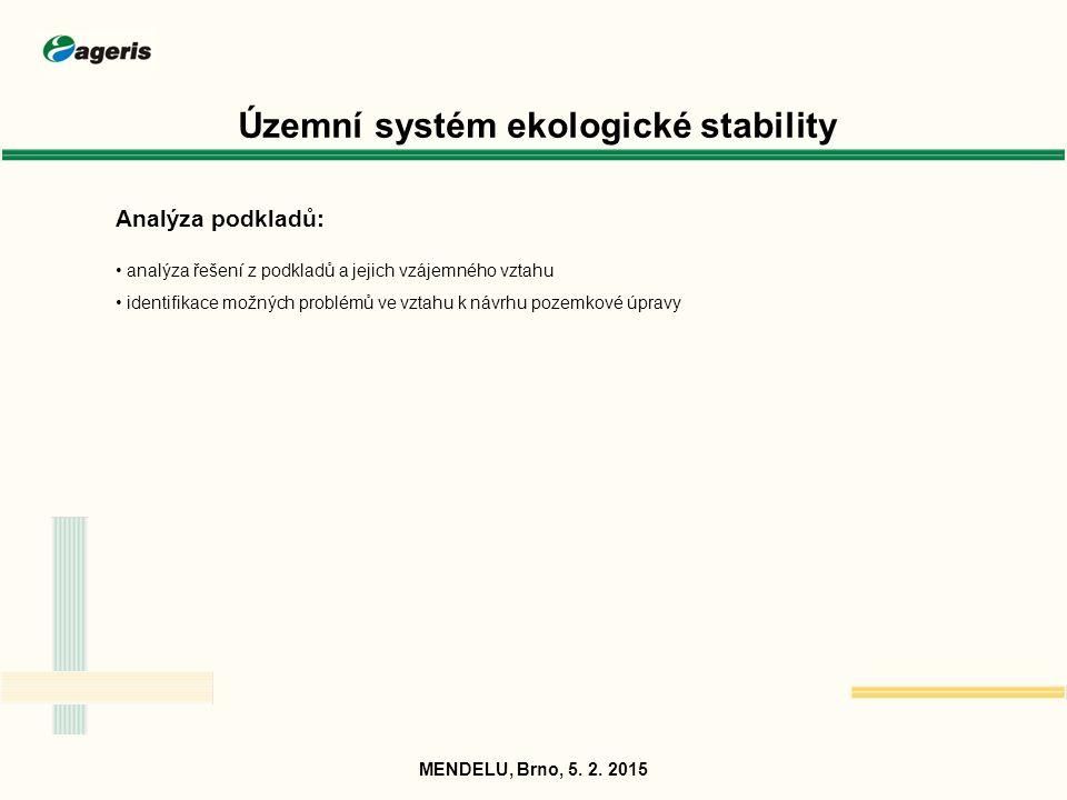 Územní systém ekologické stability Analýza podkladů: analýza řešení z podkladů a jejich vzájemného vztahu identifikace možných problémů ve vztahu k ná