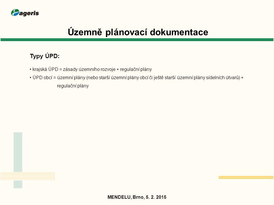 Územně plánovací dokumentace Typy ÚPD: krajská ÚPD = zásady územního rozvoje + regulační plány ÚPD obcí = územní plány (nebo starší územní plány obcí