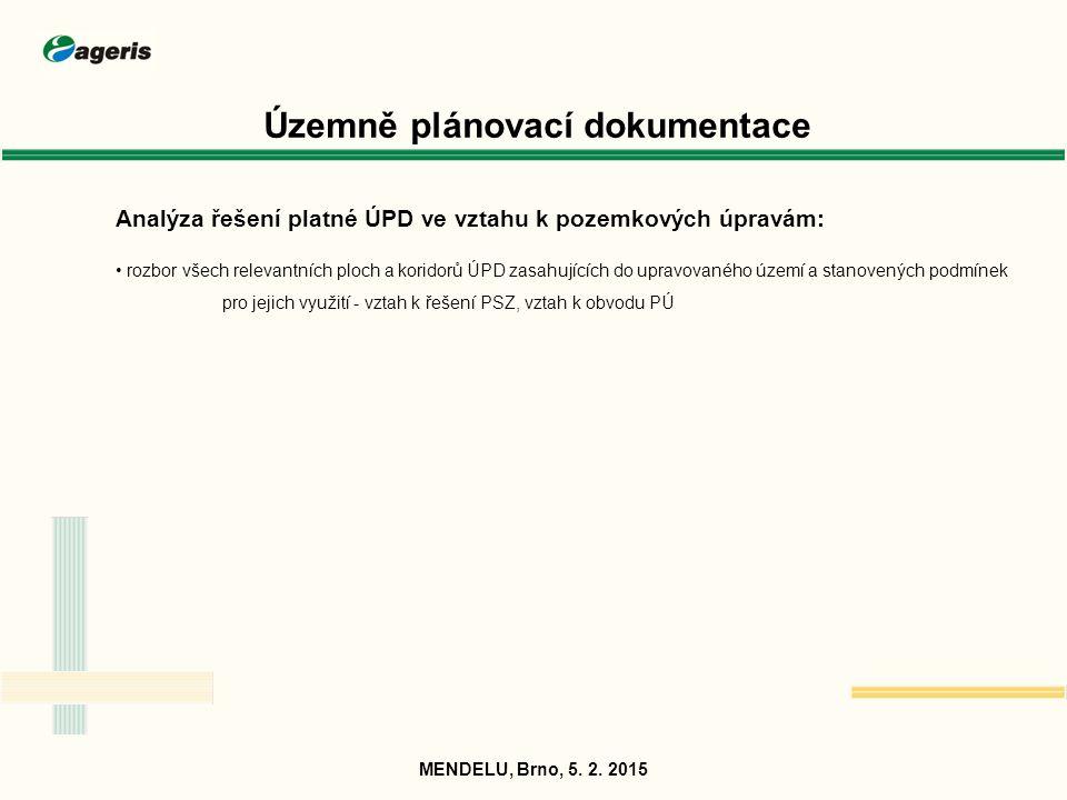 Územně plánovací dokumentace Souběh zpracování ÚPD a pozemkových úprav: nutnost časové a věcné koordinace a vzájemné zpětné vazby MENDELU, Brno, 5.