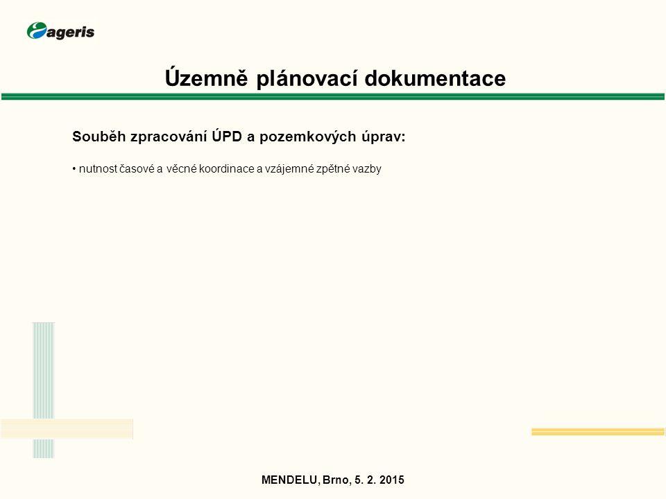 Územně plánovací dokumentace Souběh zpracování ÚPD a pozemkových úprav: nutnost časové a věcné koordinace a vzájemné zpětné vazby MENDELU, Brno, 5. 2.