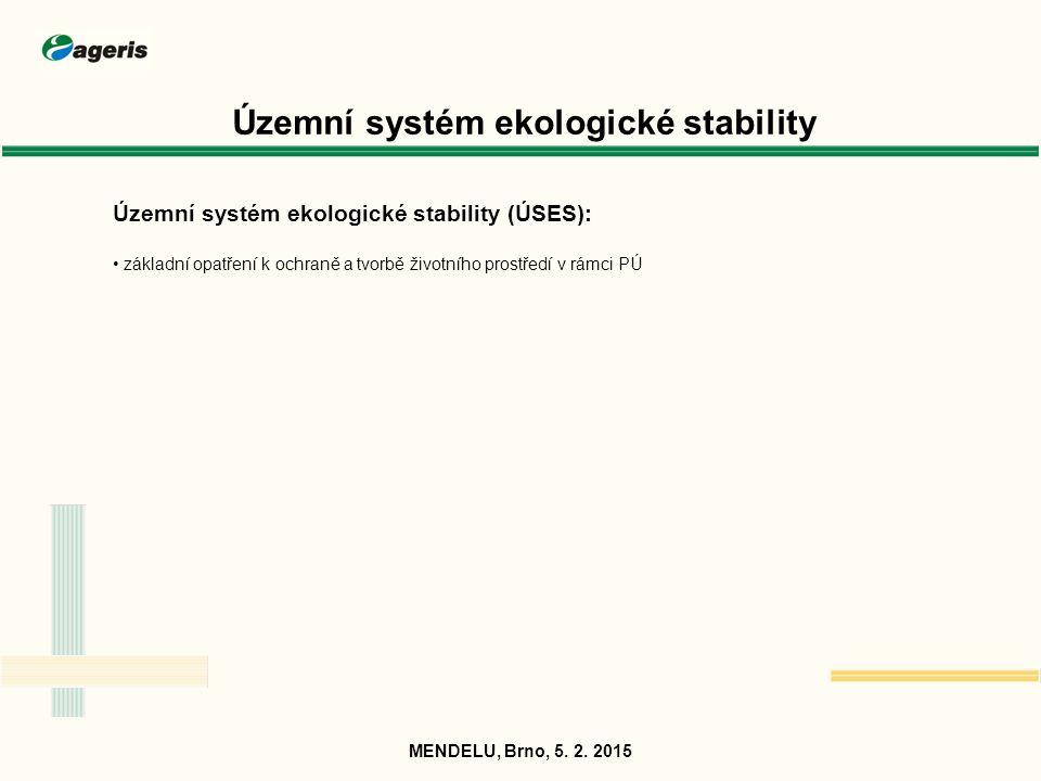 Územní systém ekologické stability Územní systém ekologické stability (ÚSES): základní opatření k ochraně a tvorbě životního prostředí v rámci PÚ MEND